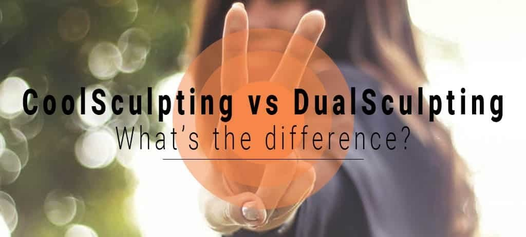 coolsculpting vs dualsculpting graphic with girl doing peace sign